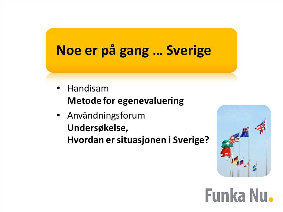 Noe er på gang … Sverige • Handisam Metode for egenevaluering • Användningsforum Undersøkelse, Hvordan er situasjonen i Sverige