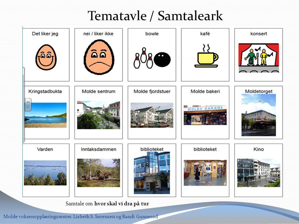 Samtale om hvor skal vi dra på tur Molde voksenopplæringssenter. Lisbeth S. Sørensen og Randi Gunnerød Tematavle / Samtaleark