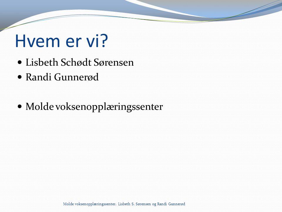 Hvem er vi?  Lisbeth Schødt Sørensen  Randi Gunnerød  Molde voksenopplæringssenter Molde voksenopplæringssenter. Lisbeth S. Sørensen og Randi Gunne