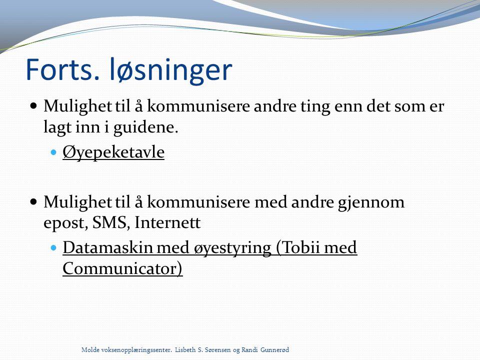 Forts. løsninger  Mulighet til å kommunisere andre ting enn det som er lagt inn i guidene.  Øyepeketavle  Mulighet til å kommunisere med andre gjen