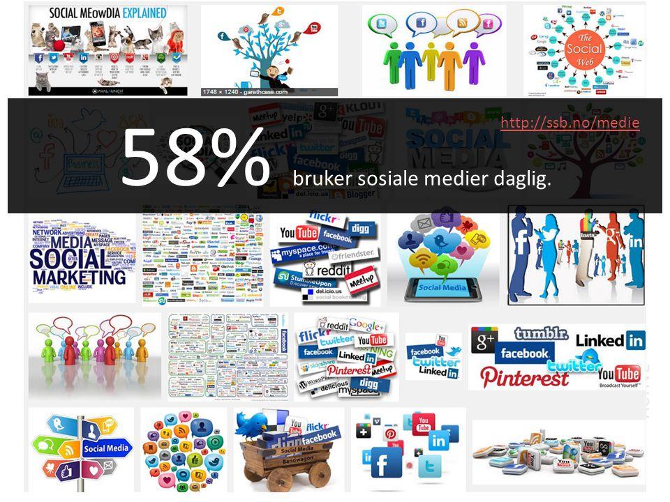 58% bruker sosiale medier daglig. http://ssb.no/medie