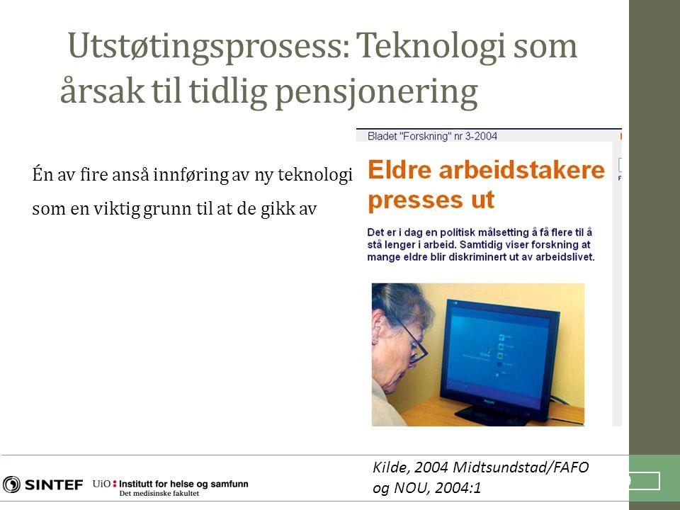 40 Utstøtingsprosess: Teknologi som årsak til tidlig pensjonering Én av fire anså innføring av ny teknologi som en viktig grunn til at de gikk av Kilde, 2004 Midtsundstad/FAFO og NOU, 2004:1