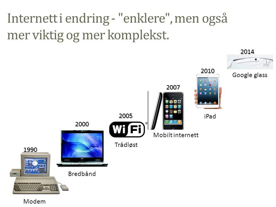 Internett i endring - enklere , men også mer viktig og mer komplekst.
