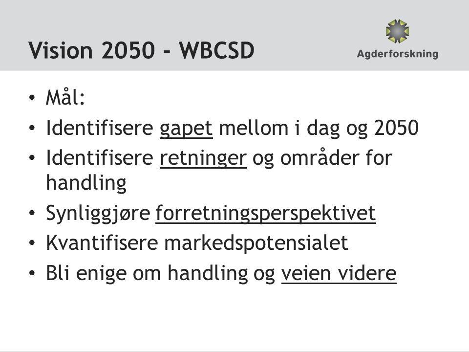 Vision 2050 - WBCSD • Mål: • Identifisere gapet mellom i dag og 2050 • Identifisere retninger og områder for handling • Synliggjøre forretningsperspek