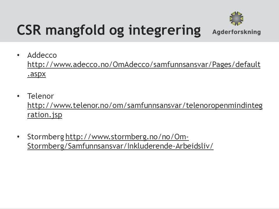 CSR mangfold og integrering • Addecco http://www.adecco.no/OmAdecco/samfunnsansvar/Pages/default.aspx http://www.adecco.no/OmAdecco/samfunnsansvar/Pag