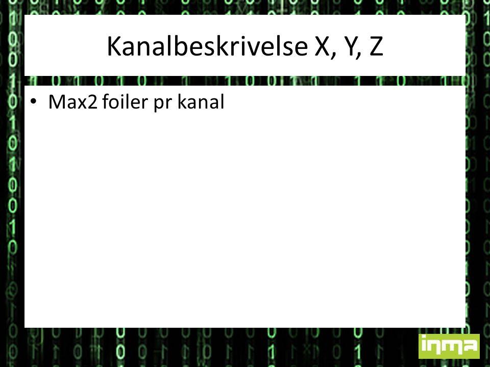 Kanalbeskrivelse X, Y, Z • Max2 foiler pr kanal