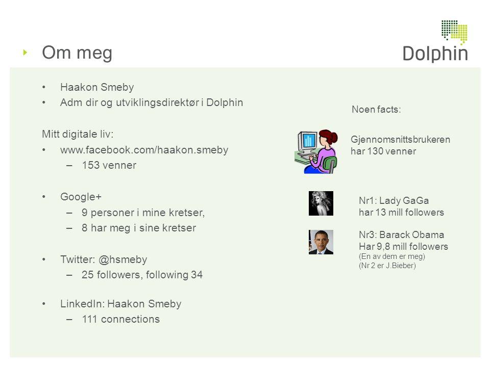 Om meg •Haakon Smeby •Adm dir og utviklingsdirektør i Dolphin Mitt digitale liv: •www.facebook.com/haakon.smeby –153 venner •Google+ –9 personer i min