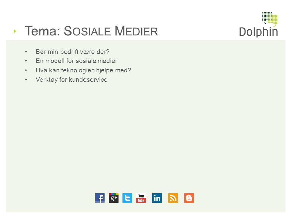 Tema: S OSIALE M EDIER •Bør min bedrift være der? •En modell for sosiale medier •Hva kan teknologien hjelpe med? •Verktøy for kundeservice