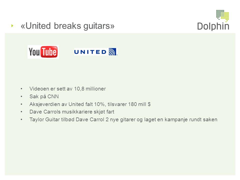 «United breaks guitars» •Videoen er sett av 10,8 millioner •Sak på CNN •Aksjeverdien av United falt 10%, tilsvarer 180 mill $ •Dave Carrols musikkarie