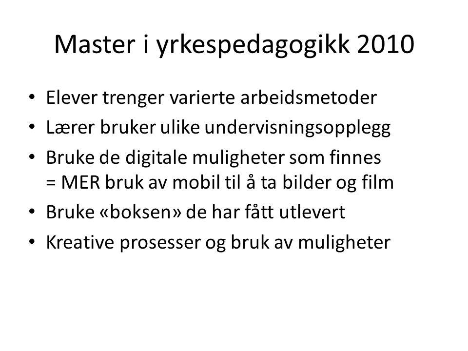 Master i yrkespedagogikk 2010 • Elever trenger varierte arbeidsmetoder • Lærer bruker ulike undervisningsopplegg • Bruke de digitale muligheter som fi