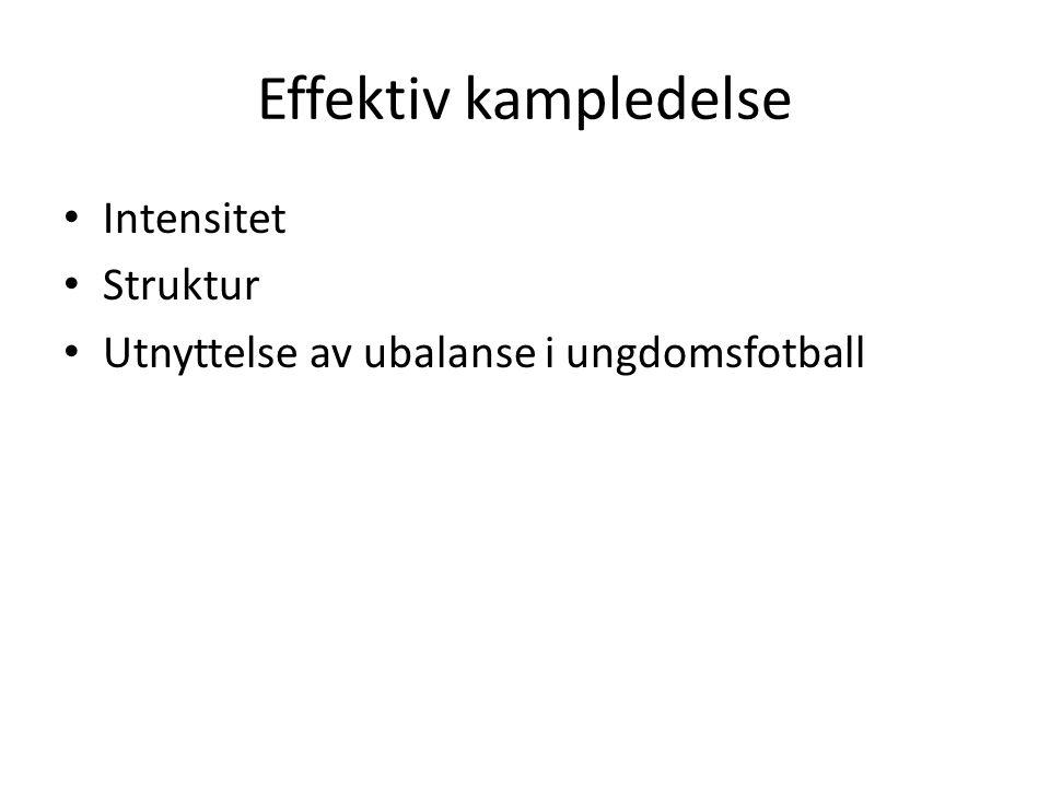 Effektiv kampledelse • Intensitet • Struktur • Utnyttelse av ubalanse i ungdomsfotball