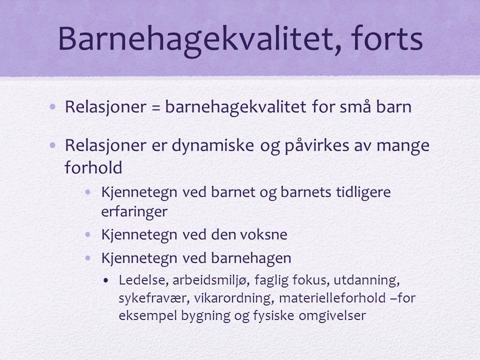 Barnehagekvalitet, forts •Relasjoner = barnehagekvalitet for små barn •Relasjoner er dynamiske og påvirkes av mange forhold •Kjennetegn ved barnet og