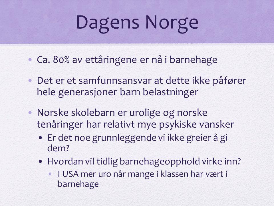 Dagens Norge •Ca. 80% av ettåringene er nå i barnehage •Det er et samfunnsansvar at dette ikke påfører hele generasjoner barn belastninger •Norske sko