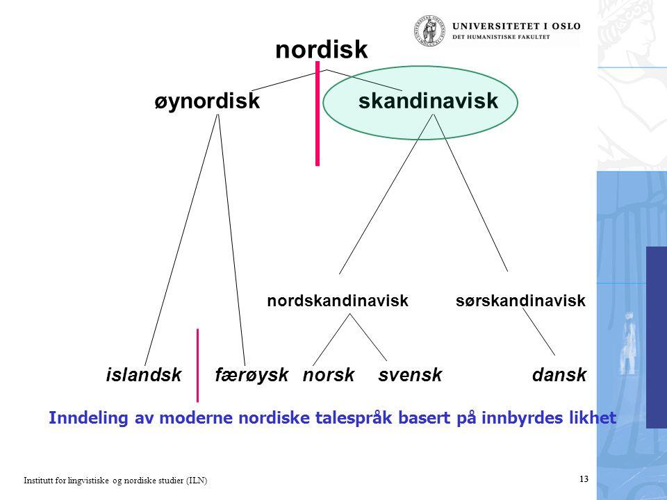 Institutt for lingvistiske og nordiske studier (ILN) 13 nordisk øynordiskskandinavisk islandsk færøysk norsk svensk dansk Inndeling av moderne nordiske talespråk basert på innbyrdes likhet nordskandinavisk sørskandinavisk 13