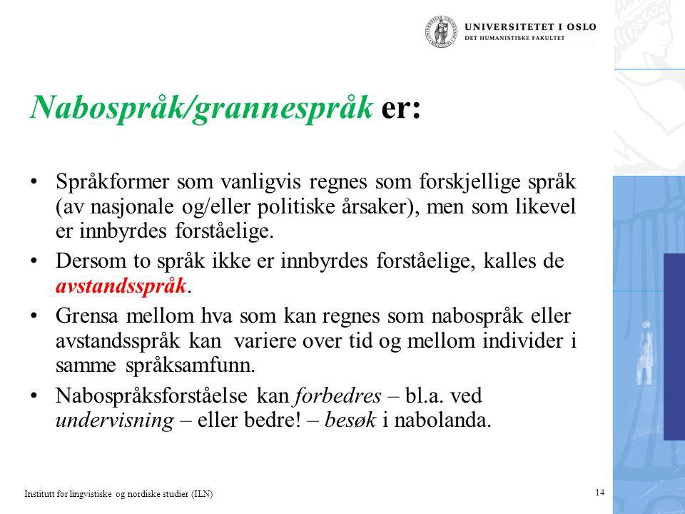 Institutt for lingvistiske og nordiske studier (ILN) Nabospråk/grannespråk er: •Språkformer som vanligvis regnes som forskjellige språk (av nasjonale og/eller politiske årsaker), men som likevel er innbyrdes forståelige.