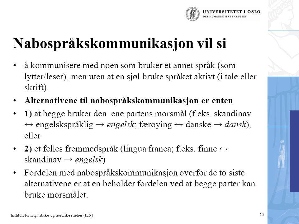 Institutt for lingvistiske og nordiske studier (ILN) Nabospråkskommunikasjon vil si •å kommunisere med noen som bruker et annet språk (som lytter/lese