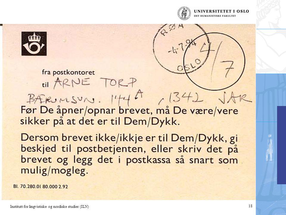 Institutt for lingvistiske og nordiske studier (ILN) 18