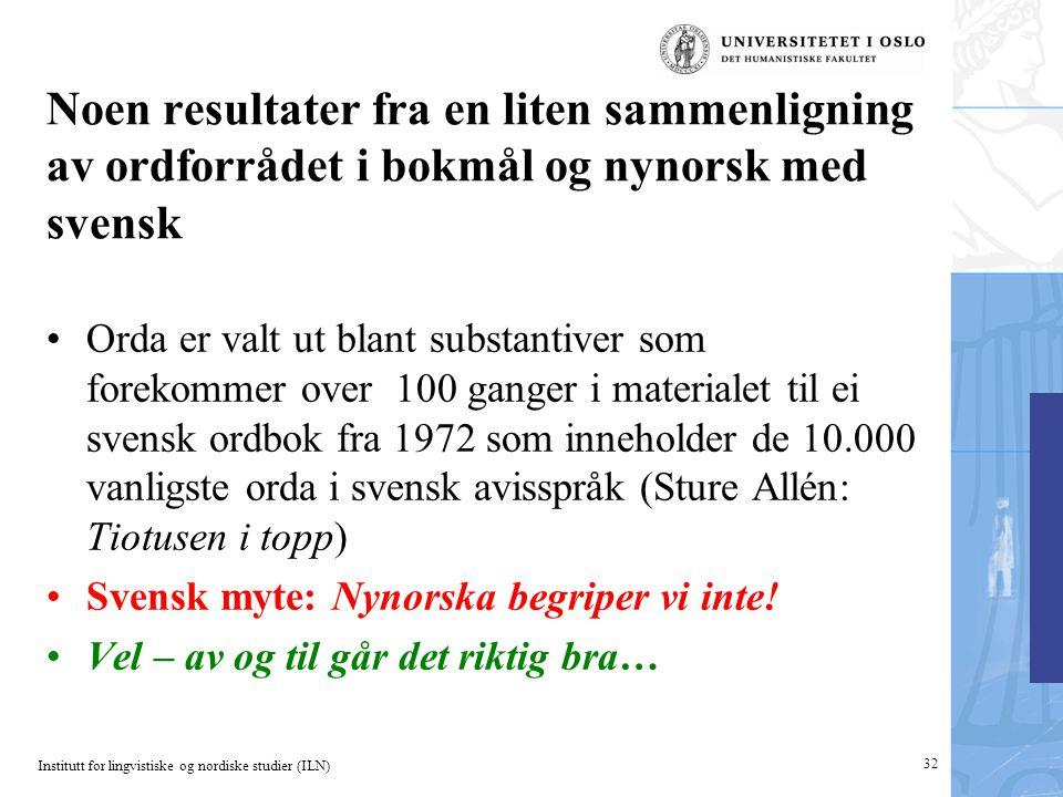 Institutt for lingvistiske og nordiske studier (ILN) Noen resultater fra en liten sammenligning av ordforrådet i bokmål og nynorsk med svensk •Orda er