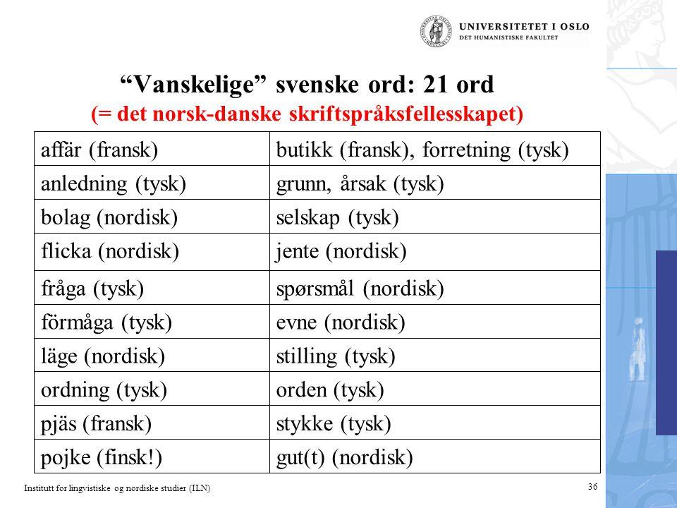 Institutt for lingvistiske og nordiske studier (ILN) Vanskelige svenske ord: 21 ord (= det norsk-danske skriftspråksfellesskapet) gut(t) (nordisk)pojke (finsk!) stykke (tysk)pjäs (fransk) orden (tysk)ordning (tysk) stilling (tysk)läge (nordisk) evne (nordisk)förmåga (tysk) spørsmål (nordisk)fråga (tysk) jente (nordisk)flicka (nordisk) selskap (tysk)bolag (nordisk) grunn, årsak (tysk)anledning (tysk) butikk (fransk), forretning (tysk)affär (fransk) 36