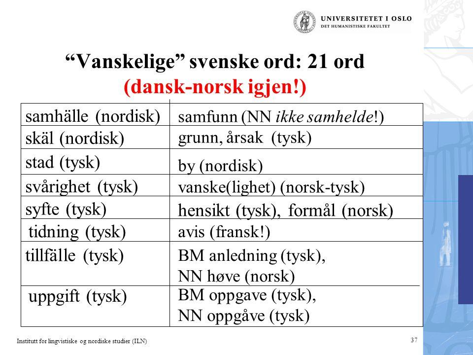"""Institutt for lingvistiske og nordiske studier (ILN) """"Vanskelige"""" svenske ord: 21 ord (dansk-norsk igjen!) BM oppgave (tysk), NN oppgåve (tysk) BM anl"""