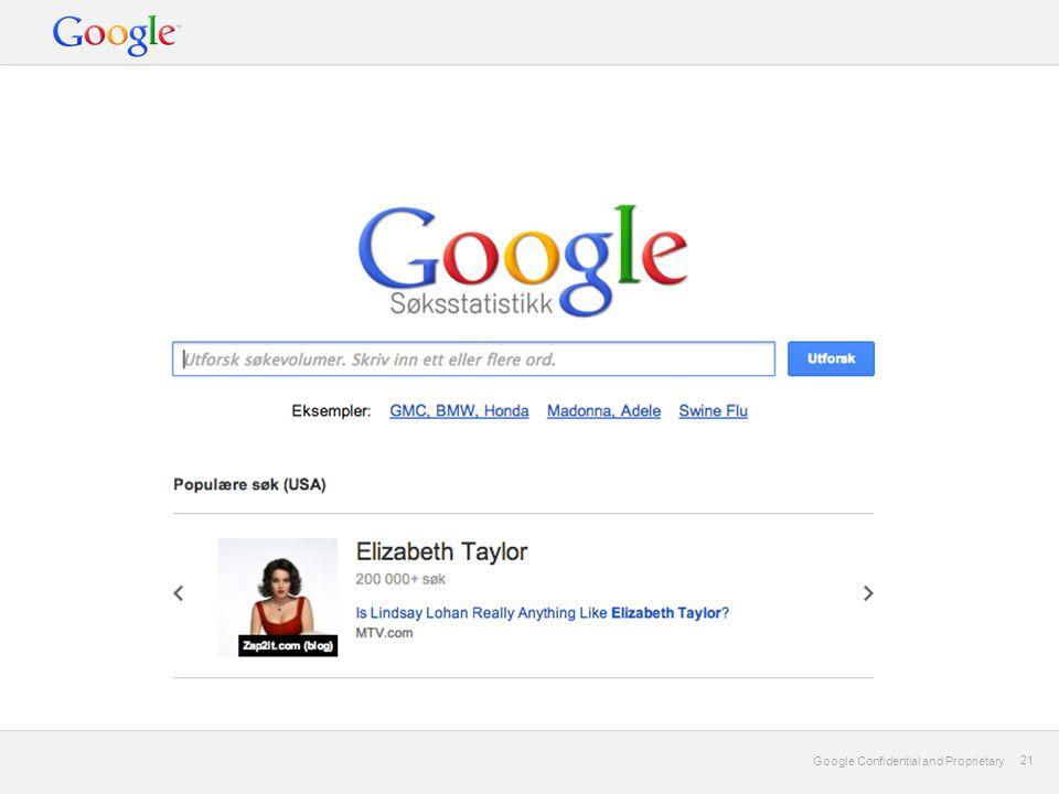 Google Confidential and Proprietary 21 Google Confidential and Proprietary 21