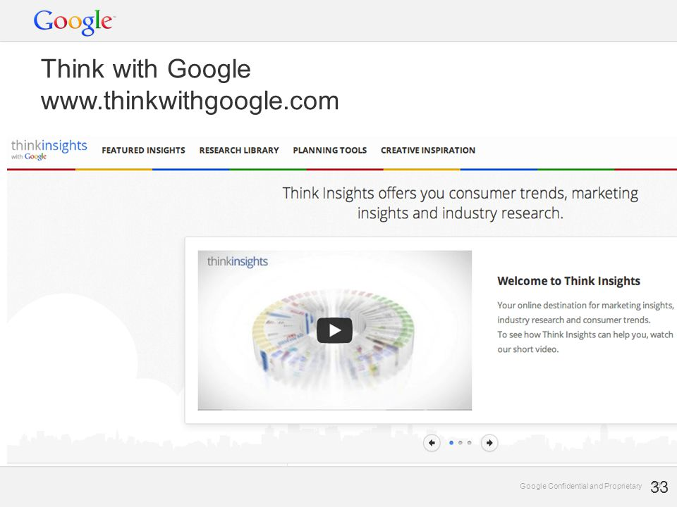 Google Confidential and Proprietary 33 Google Confidential and Proprietary 33 Think with Google www.thinkwithgoogle.com 33
