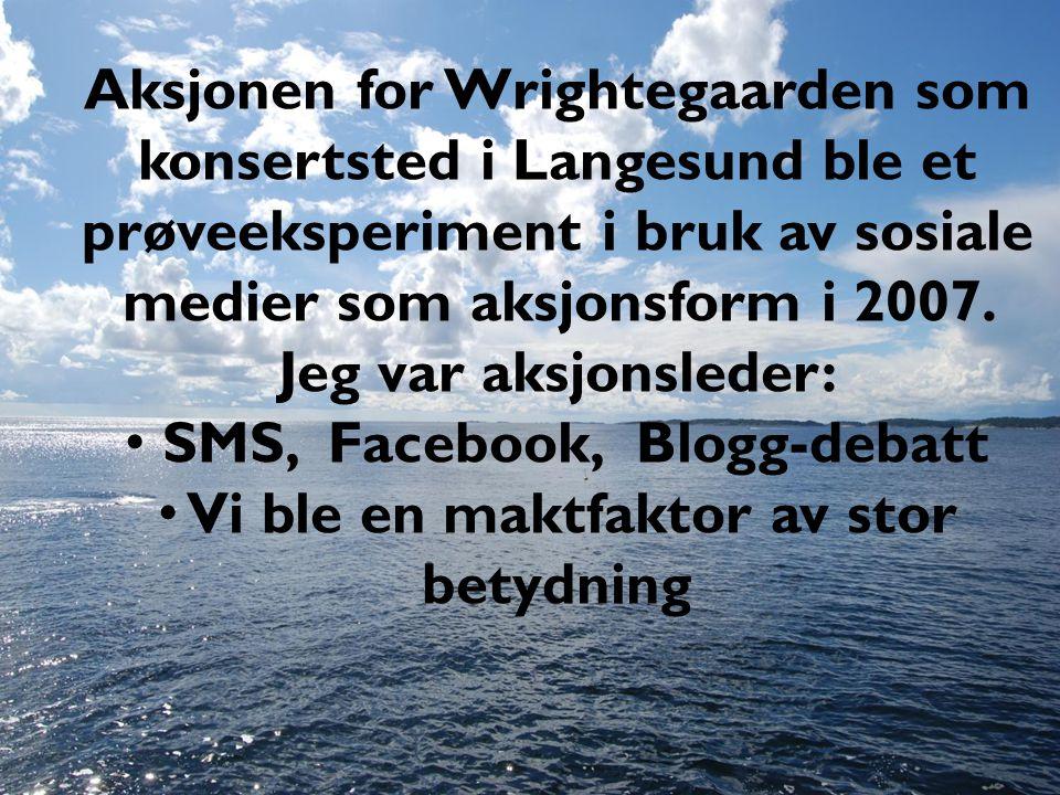 Aksjonen for Wrightegaarden som konsertsted i Langesund ble et prøveeksperiment i bruk av sosiale medier som aksjonsform i 2007. Jeg var aksjonsleder: