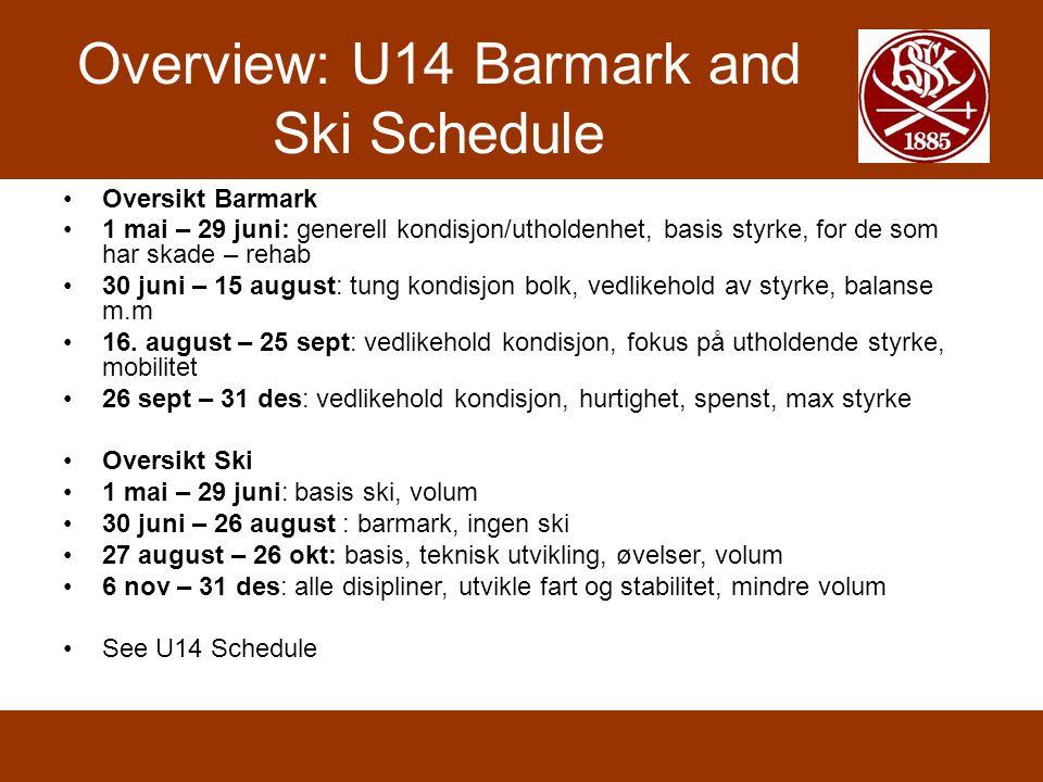 Overview: U14 Barmark and Ski Schedule •Oversikt Barmark •1 mai – 29 juni: generell kondisjon/utholdenhet, basis styrke, for de som har skade – rehab •30 juni – 15 august: tung kondisjon bolk, vedlikehold av styrke, balanse m.m •16.