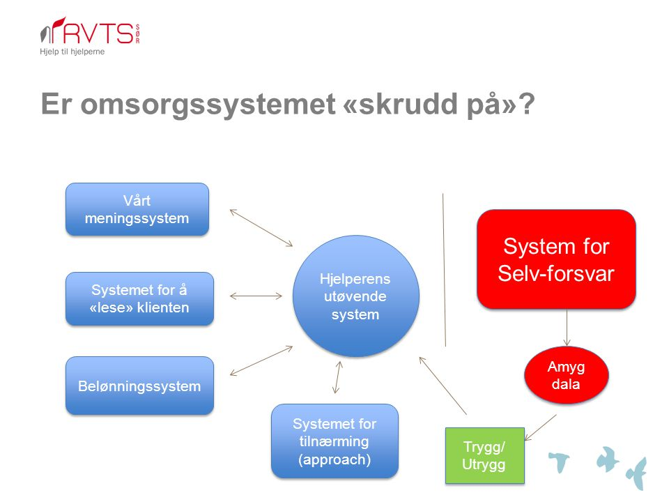Er omsorgssystemet «skrudd på»? Vårt meningssystem Systemet for å «lese» klienten Belønningssystem Systemet for tilnærming (approach) System for Selv-