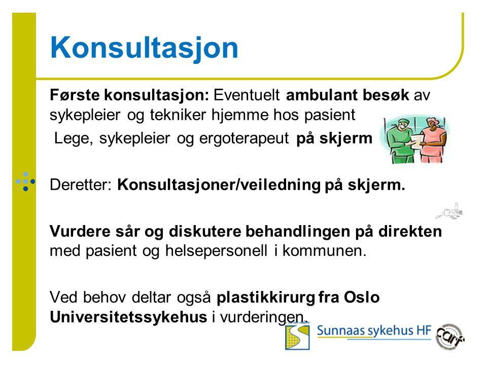 Konsultasjon Første konsultasjon: Eventuelt ambulant besøk av sykepleier og tekniker hjemme hos pasient Lege, sykepleier og ergoterapeut på skjerm Deretter: Konsultasjoner/veiledning på skjerm.