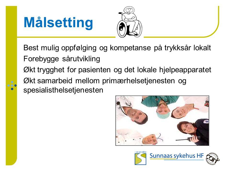 Målsetting Best mulig oppfølging og kompetanse på trykksår lokalt Forebygge sårutvikling Økt trygghet for pasienten og det lokale hjelpeapparatet Økt