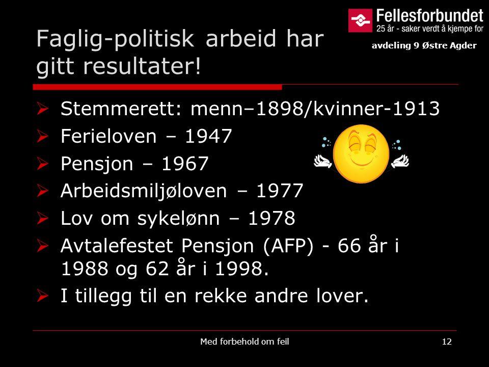Faglig-politisk arbeid har gitt resultater!  Stemmerett: menn–1898/kvinner-1913  Ferieloven – 1947  Pensjon – 1967  Arbeidsmiljøloven – 1977  Lov