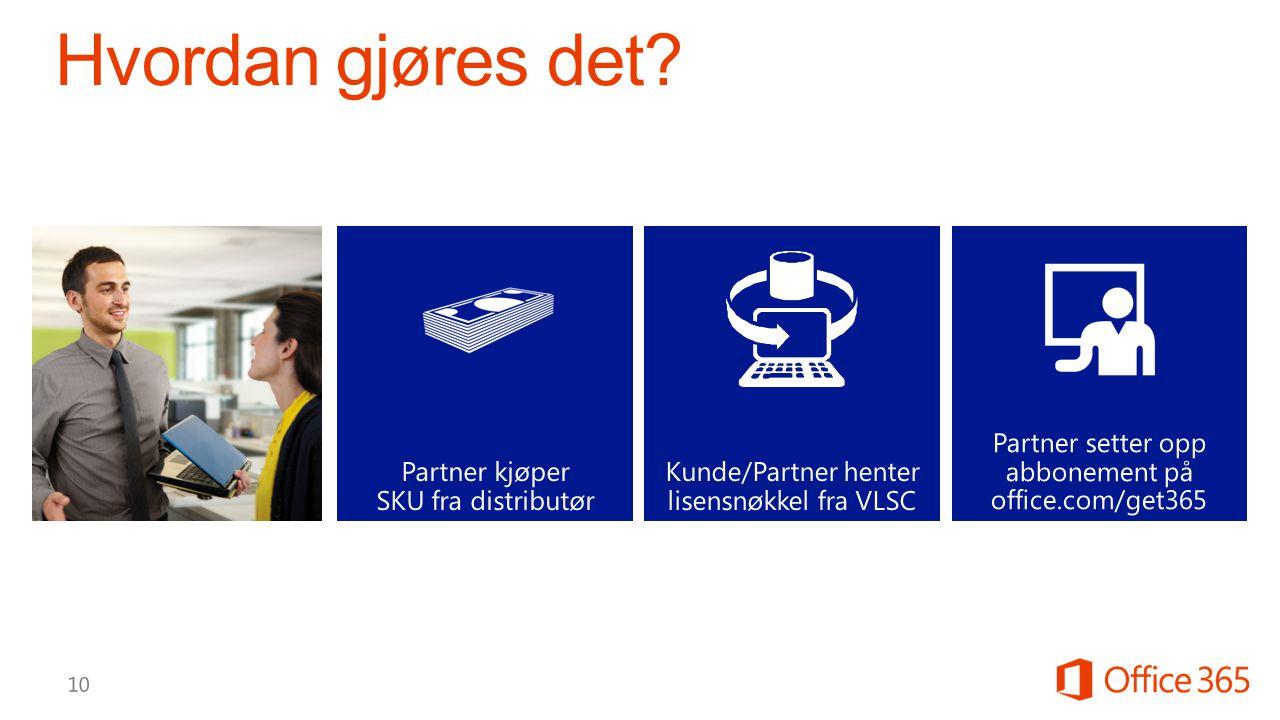 Partner setter opp abbonement på office.com/get365 Partner kjøper SKU fra distributør Kunde/Partner henter lisensnøkkel fra VLSC
