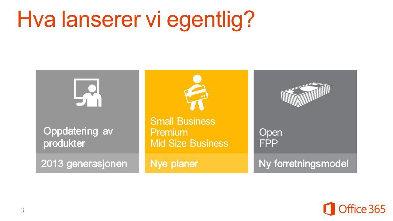 Hva lanserer vi egentlig? Open FPP Small Business Premium Mid Size Business