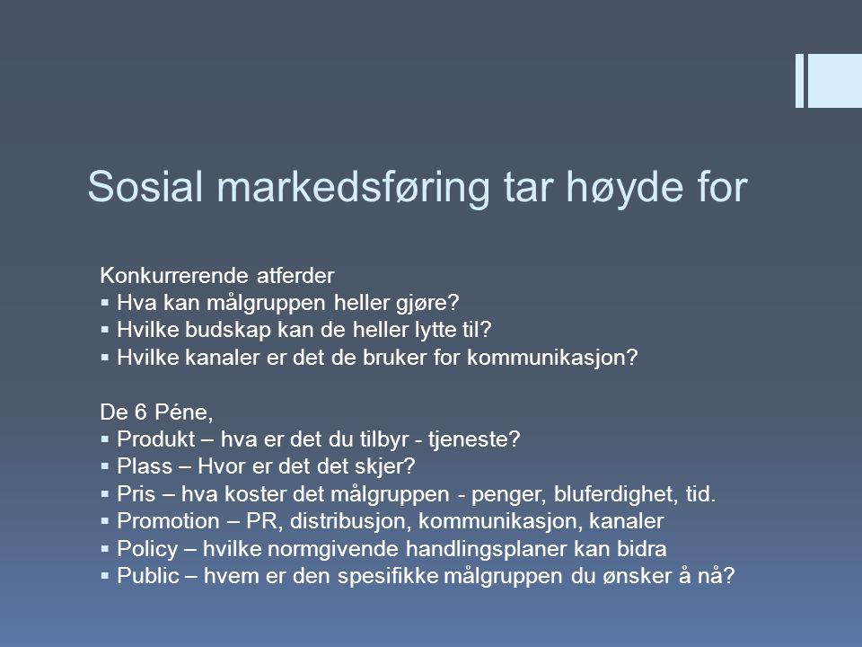 Sosial markedsføring tar høyde for Konkurrerende atferder  Hva kan målgruppen heller gjøre?  Hvilke budskap kan de heller lytte til?  Hvilke kanale