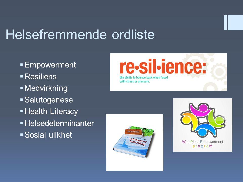 Helsefremmende ordliste  Empowerment  Resiliens  Medvirkning  Salutogenese  Health Literacy  Helsedeterminanter  Sosial ulikhet