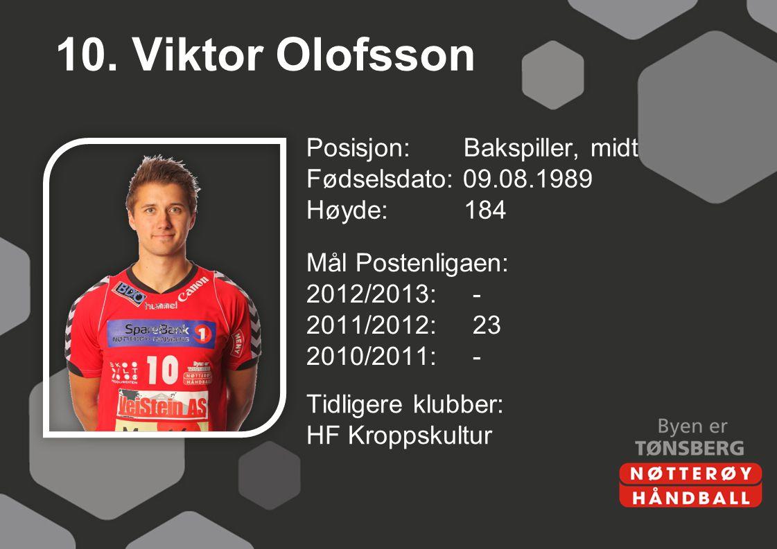 10. Viktor Olofsson Posisjon: Bakspiller, midt Fødselsdato: 09.08.1989 Høyde:184 Mål Postenligaen: 2012/2013:- 2011/2012:23 2010/2011:- Tidligere klub