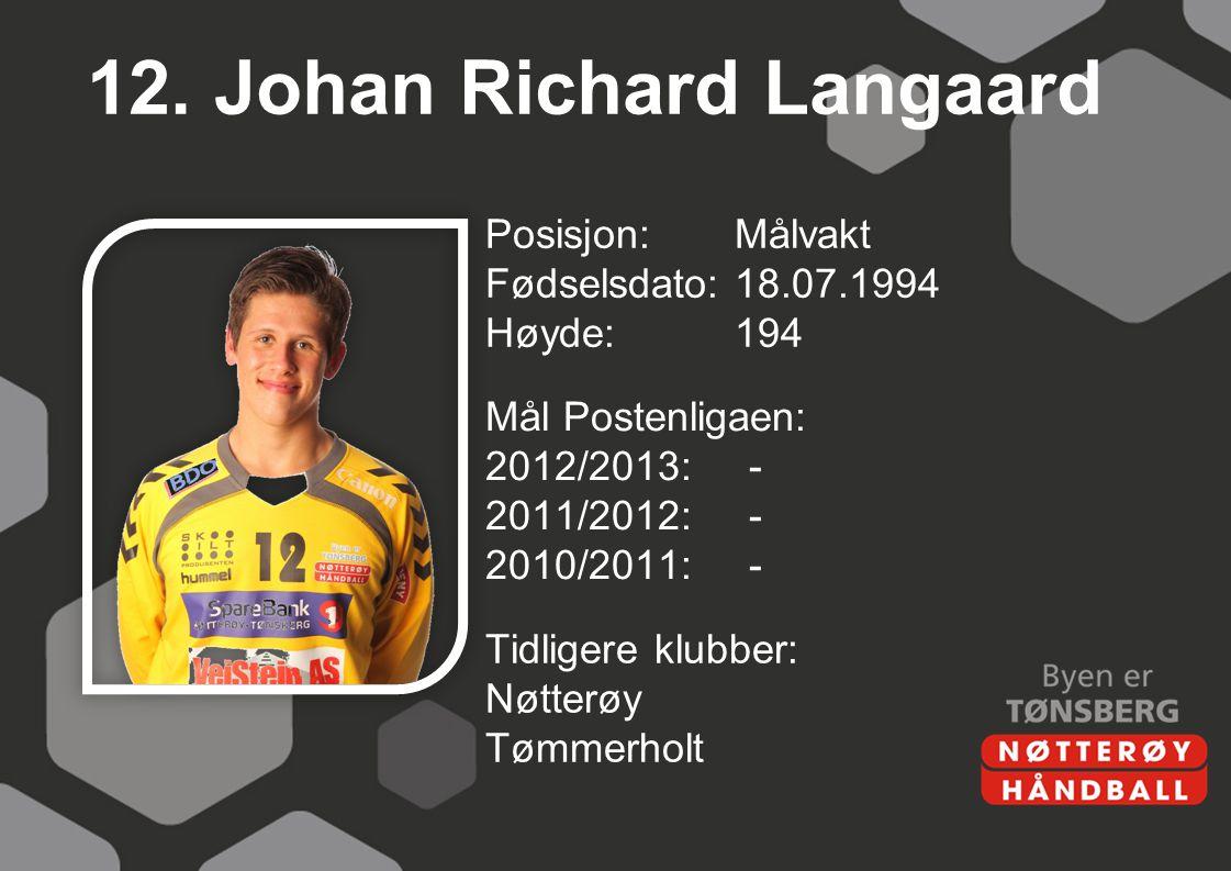 12. Johan Richard Langaard Posisjon:Målvakt Fødselsdato:18.07.1994 Høyde:194 Mål Postenligaen: 2012/2013:- 2011/2012:- 2010/2011:- Tidligere klubber: