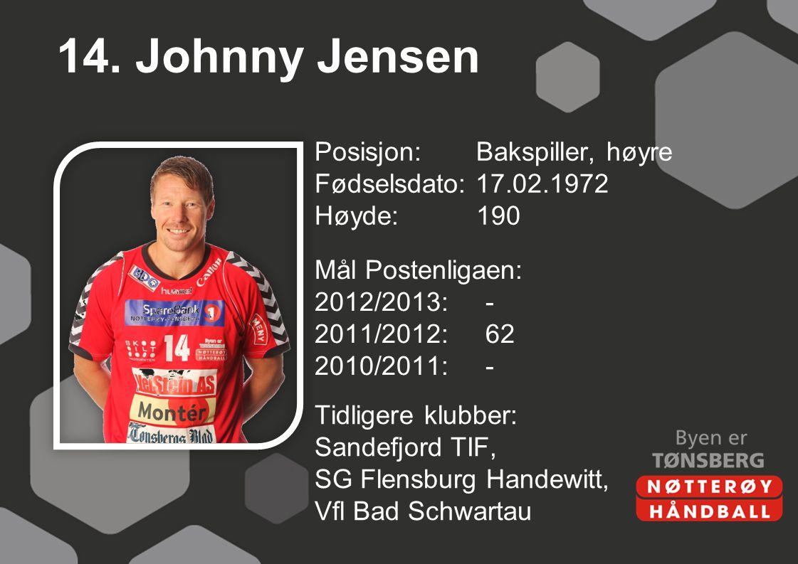 14. Johnny Jensen Posisjon: Bakspiller, høyre Fødselsdato: 17.02.1972 Høyde:190 Mål Postenligaen: 2012/2013:- 2011/2012:62 2010/2011:- Tidligere klubb