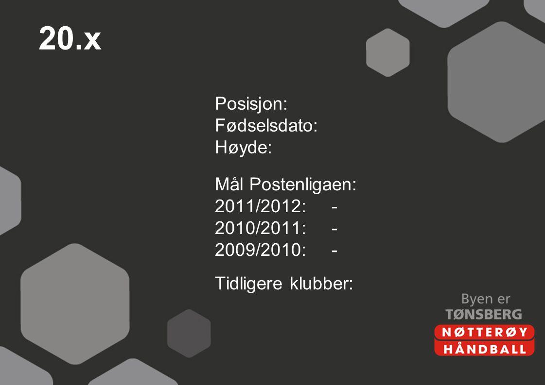 20.x Posisjon: Fødselsdato: Høyde: Mål Postenligaen: 2011/2012:- 2010/2011:- 2009/2010:- Tidligere klubber: