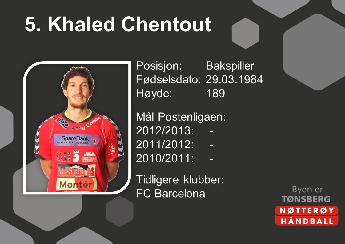 5. Khaled Chentout Posisjon: Bakspiller Fødselsdato: 29.03.1984 Høyde:189 Mål Postenligaen: 2012/2013:- 2011/2012:- 2010/2011:- Tidligere klubber: FC