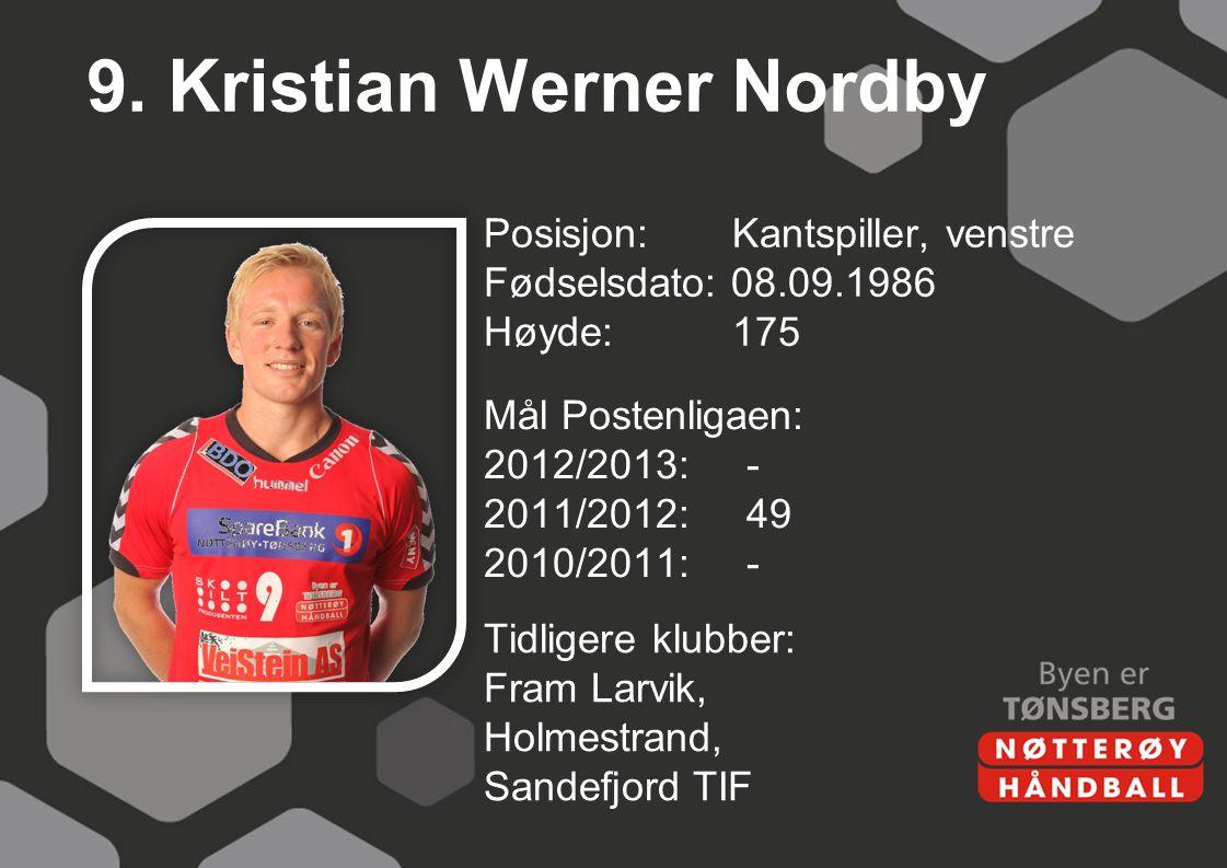 9. Kristian Werner Nordby Posisjon: Kantspiller, venstre Fødselsdato: 08.09.1986 Høyde:175 Mål Postenligaen: 2012/2013:- 2011/2012:49 2010/2011:- Tidl