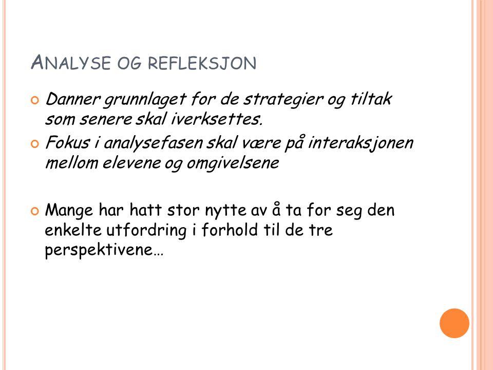 A NALYSE OG REFLEKSJON Danner grunnlaget for de strategier og tiltak som senere skal iverksettes.