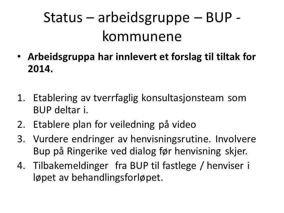 Status – arbeidsgruppe – BUP - kommunene • Arbeidsgruppa har innlevert et forslag til tiltak for 2014. 1.Etablering av tverrfaglig konsultasjonsteam s