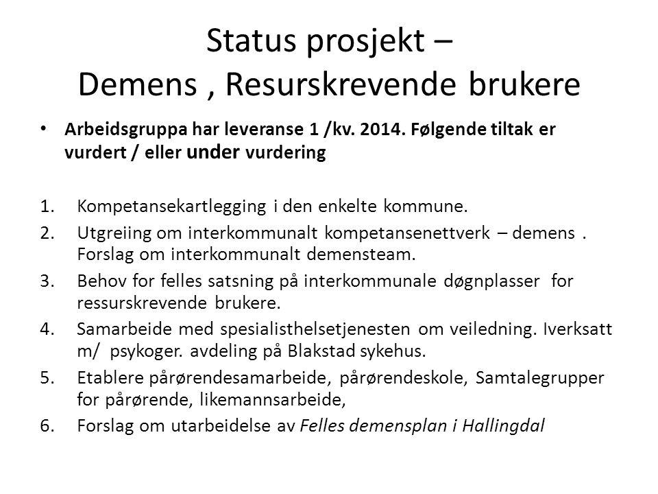 Status prosjekt – Demens, Resurskrevende brukere • Arbeidsgruppa har leveranse 1 /kv. 2014. Følgende tiltak er vurdert / eller under vurdering 1.Kompe