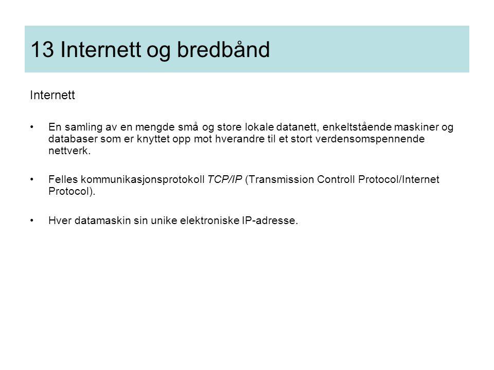 13 Internett og bredbånd Internett •En samling av en mengde små og store lokale datanett, enkeltstående maskiner og databaser som er knyttet opp mot h