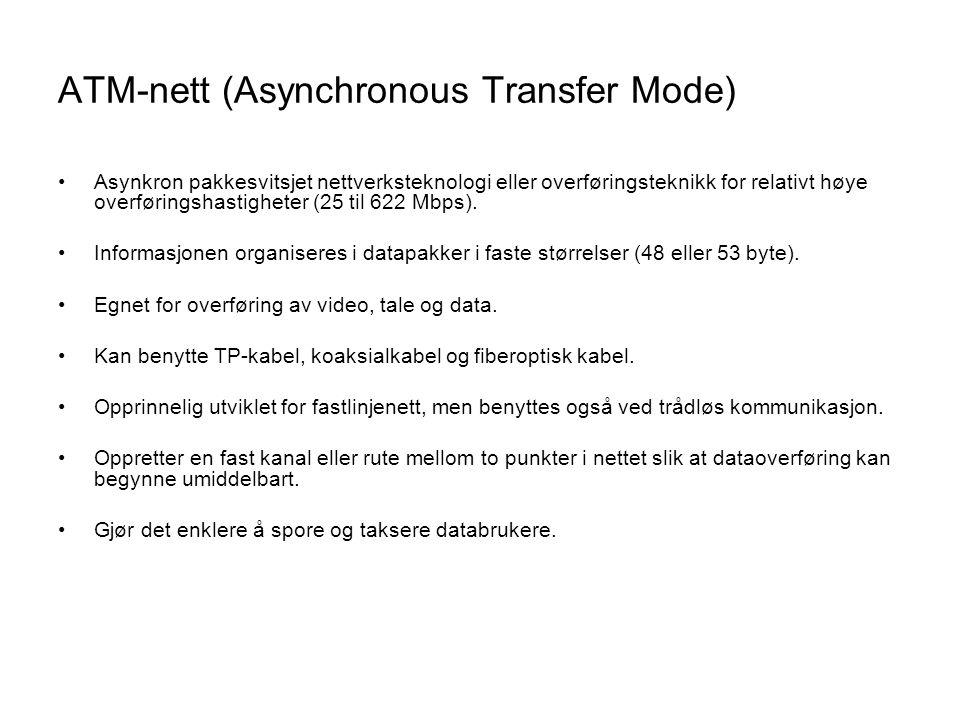 ATM-nett (Asynchronous Transfer Mode) •Asynkron pakkesvitsjet nettverksteknologi eller overføringsteknikk for relativt høye overføringshastigheter (25