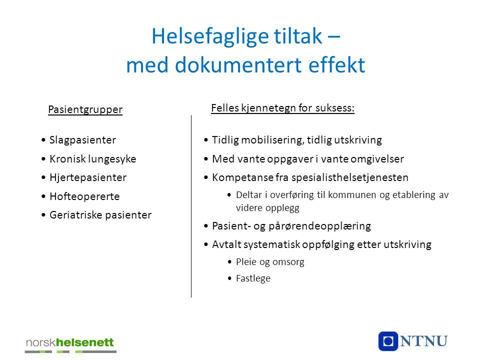 Helsefaglige tiltak – med dokumentert effekt Felles kjennetegn for suksess: •Slagpasienter •Kronisk lungesyke •Hjertepasienter •Hofteopererte •Geriatr