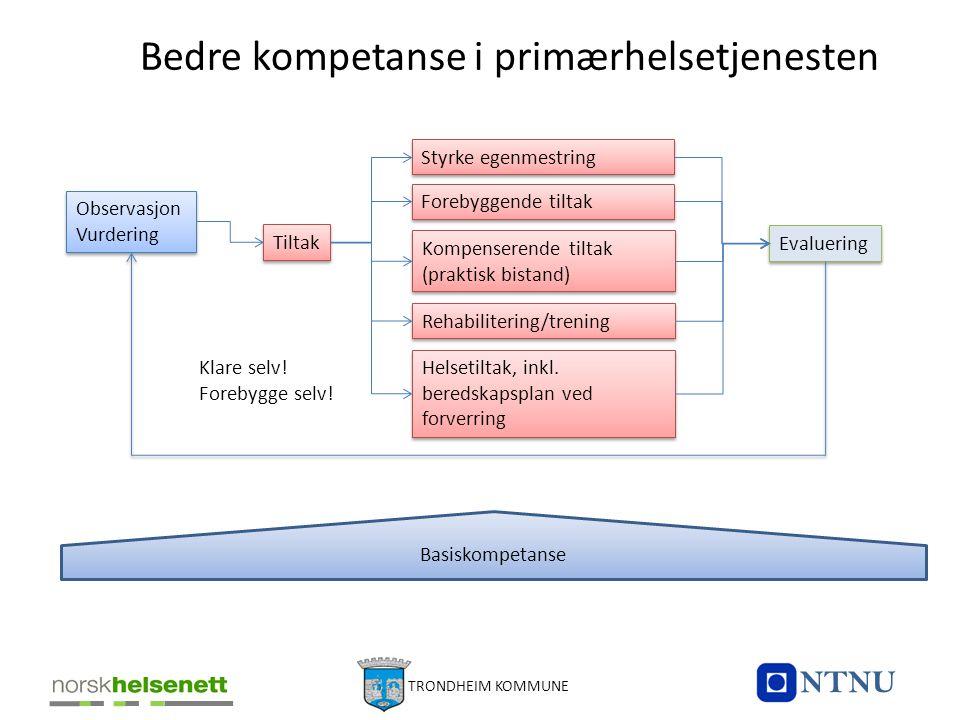 Bedre kompetanse i primærhelsetjenesten Observasjon Vurdering Tiltak Styrke egenmestring Forebyggende tiltak Kompenserende tiltak (praktisk bistand) H