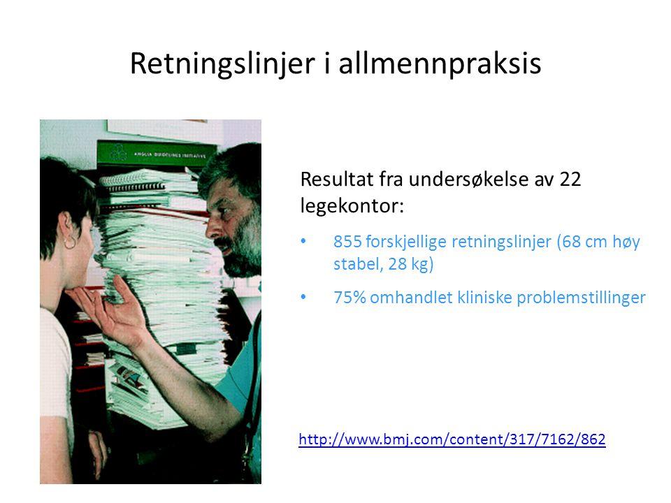 Retningslinjer i allmennpraksis Resultat fra undersøkelse av 22 legekontor: • 855 forskjellige retningslinjer (68 cm høy stabel, 28 kg) • 75% omhandle